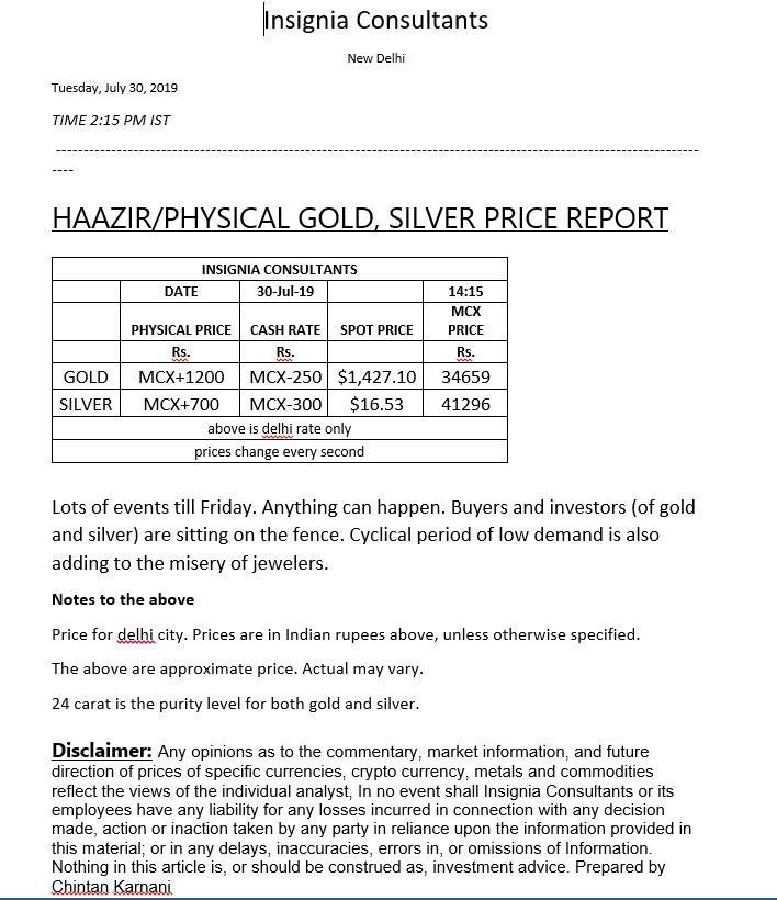 Spot Haazir Physical Gold And Silver Price Report 30th July