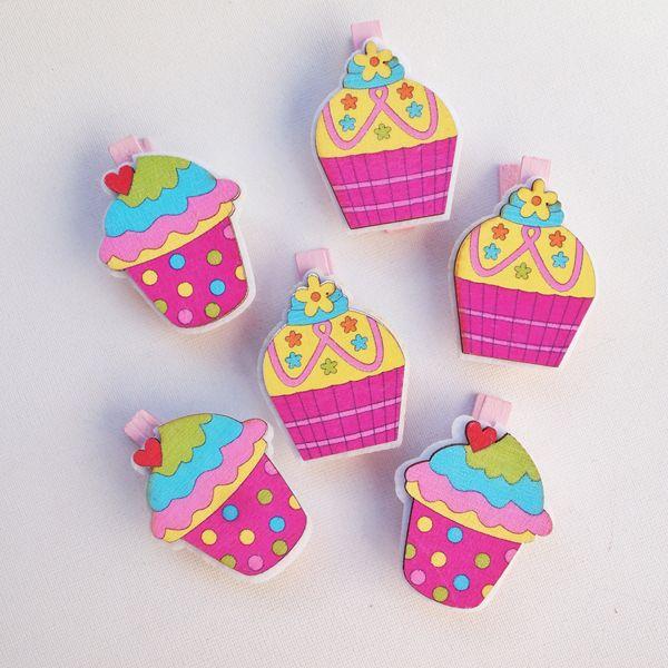 Cupcake Çiçek Mandal Set