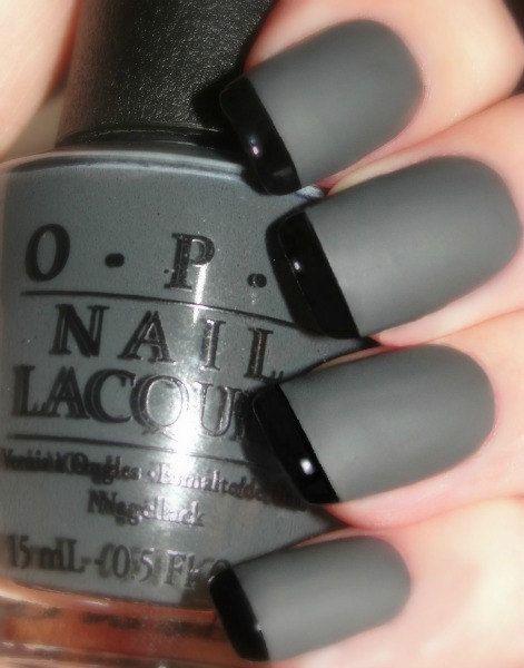 OPI Smoke & Ash Reverse Matte Tuxedo Manicure by LoveThoseNails