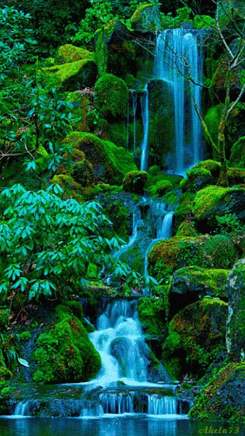 Waterfall . So very beautiful ! love it so much ^_^ the color is amazing ^_^ ♥