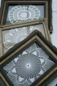 Grandma's doilies into works of art 6. Make beautiful original art pieces Take a canvas or a thick piece of cardboard in any colour you like (other than white). Find a deep frame that it can fit into in a basic colour (black or white is preferable).Using clear glue, brush a few doilies to the edges and then mount onto the cardboard or canvas.Let them dry for a few hours before popping them into the frame.Hang them around your home or give them as beautiful unique gifts.