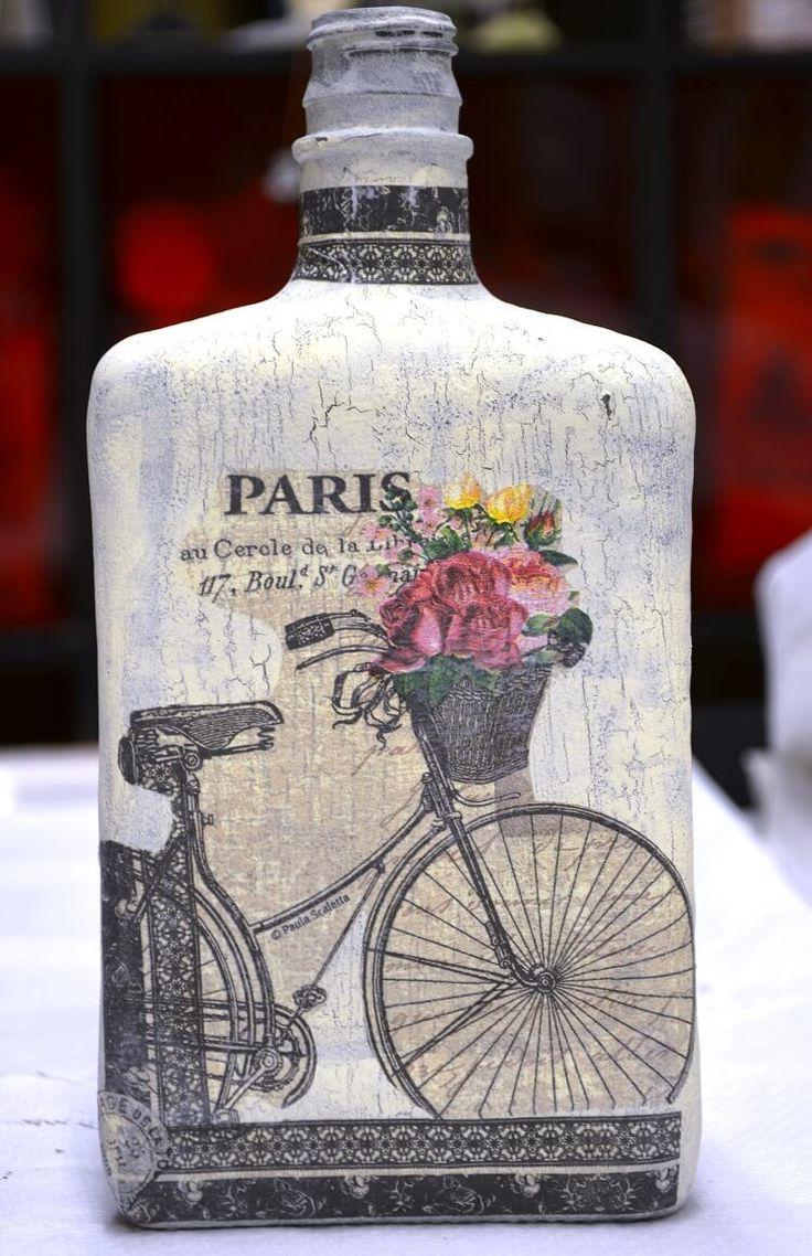 botella decorada en decoupage