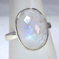 rainbow moonstone faceted oval ring Sterling Silver Uk Size R 1/2. Actual One