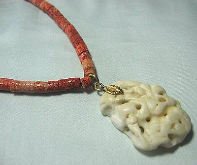 Gold-Plate-Red-Sponge-Coral-Bead-Necklace-w-White-Coral-Pendant-25-1-2-long