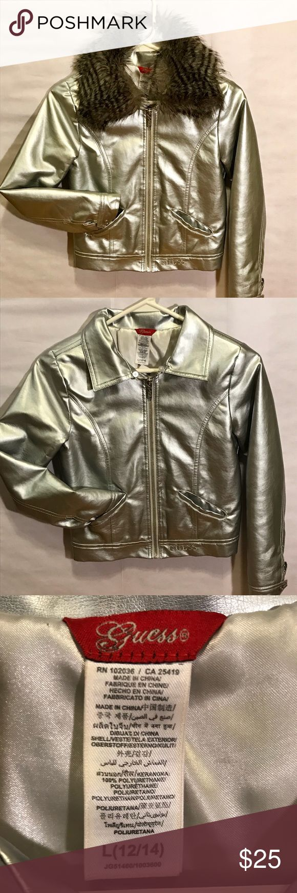 GUESS silver metallic jacket GUESS super cute silver metallic jacket with detachable fur collar- fur buttons onto the collar. Adorable with or without the fur. One button is missing on the corner of collar (to attach the fur) but does not effect it. Guess Jackets & Coats