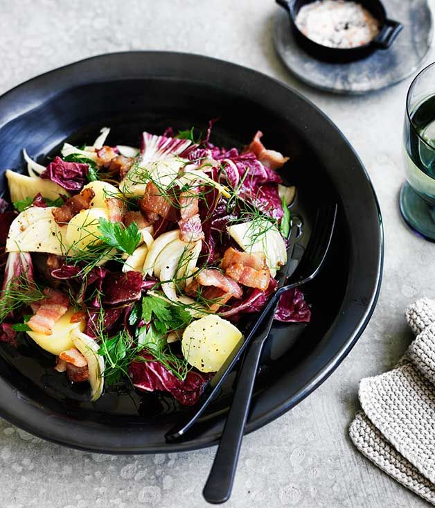 Pickled fennel works wonderfully in this potato, bacon and pickled fennel salad salad. Goat's curd makes a lovely addition here, too.