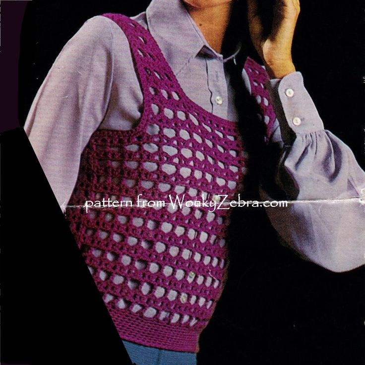 """two tank or shrink tops to crochet from this vintage """"ladyship 4689 crochet pattern. PDF from WonkyZebra.com"""