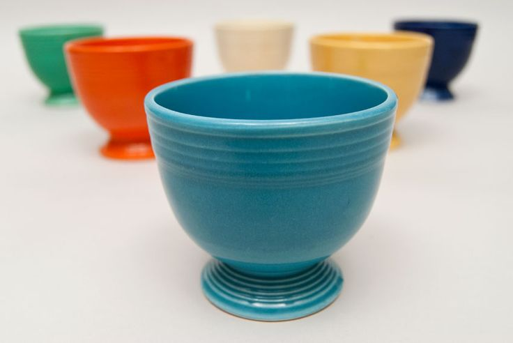 egg cups | Fiesta Turquoise Fiestaware Vintage Original Pottery Egg Cup For Sale
