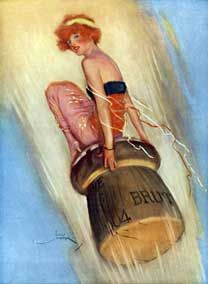 Champagne - 1915 English magazine illustration of a lady riding a Champagne cork (Lordprice Collection)