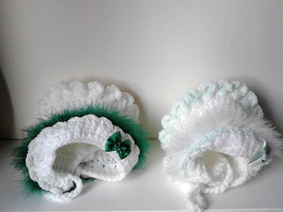 Crochet baby girl bonnet st Patrick day 6-12 months by crochetfifi