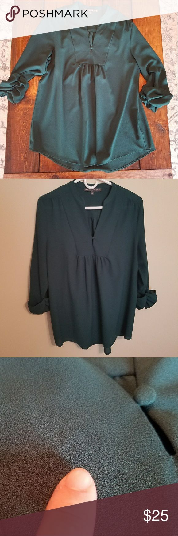 Brixon Ivy blouse hunter green size large Beautiful hunter green blouse. Elbow length sleeves. Very flattering. A few spots on this blouse as pictured. One on the front V neck but it is hard to see and one towards the bottom front. 100 % polyester. Brixton Ivy Tops Blouses