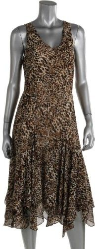 Lauren Ralph Lauren Womens Printed Handkerchief Hem Casual Dress
