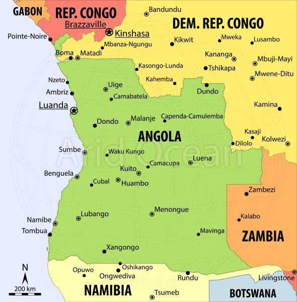 west africa map angola
