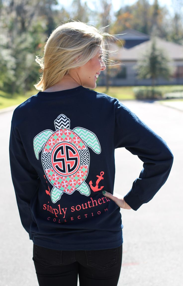 "This navy Simply Southern Long sleeve features a turtle print! Model is 5'4"" wearing a small."
