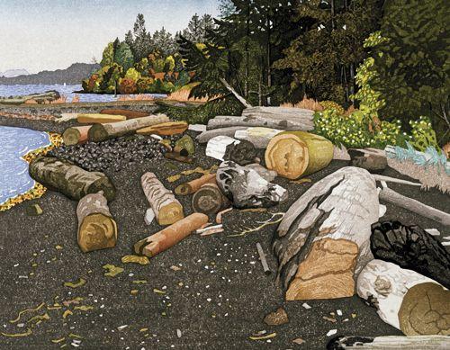 The Seashore at Crofton - 1998 woodblock E J Hughes