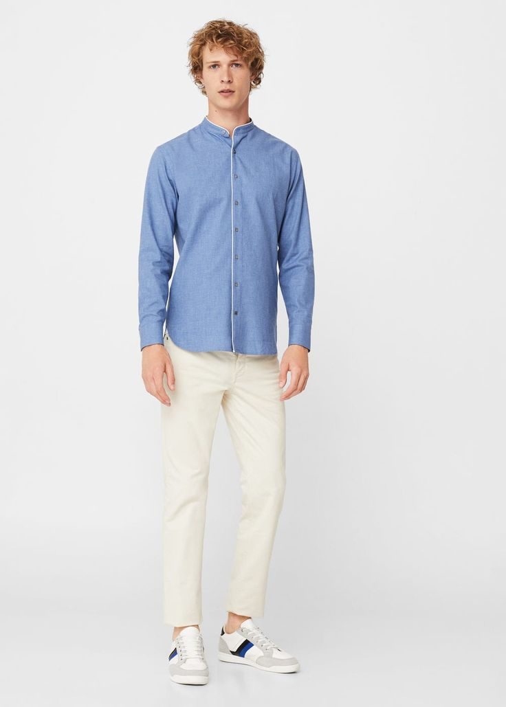 Camisa regular-fit cuello mao - Hombre   MNG Man Colombia