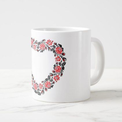 Original Heart of cross-stitch red rose flowers Large Coffee Mug - valentines day gifts love couple diy personalize for her for him girlfriend boyfriend