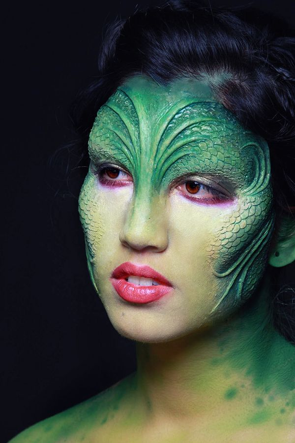 Makeup using a silicone prosthetic on a model