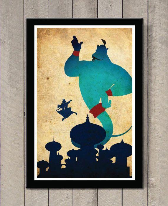 Affiche du film Disney  Aladdin par MINIMALISTPRINTS sur Etsy