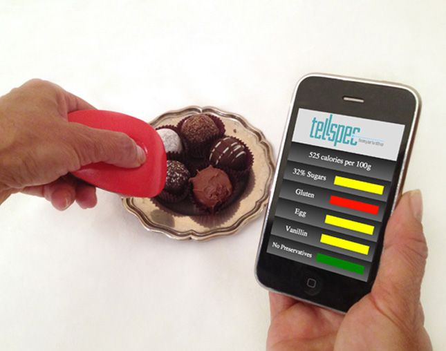 Stunning technology gadget tells you the calories and ingredients of food, all with the wave of a wand. It can also alert you to allergens and pesticides. TellSpec.