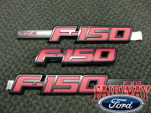 2009 thru 2014 F-150 OEM Genuine Ford Parts RED FX4 Fender & T/Gate Emblem Set. Yes please!!