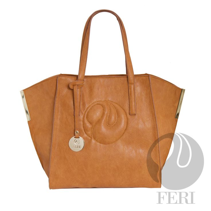 "FERI Day2Day - Petra - Purse - Tan - Tan PU Leather tote bag - FERI Swan logo top stitched and embossed on front - Comes with matching shoulder strap - Full zippered closure - Embellished gold toned metal accents - Gold toned customized FERI hardware - Custom FERI lining with zippered pouch and cellphone pockets - Dimension: 20.5"" x 12.9"" x 7.1"" (Width x Height x Depth)  Invest with confidence in FERI Designer Lines.   www.gwtcorp.com/ghem or email fashionforghem.com for big discount"