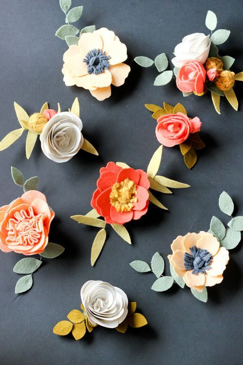 DIY Felt Flowers Tutorial - these flower are so pretty for headbands, bouquets, hair clips, gift wrap toppers...