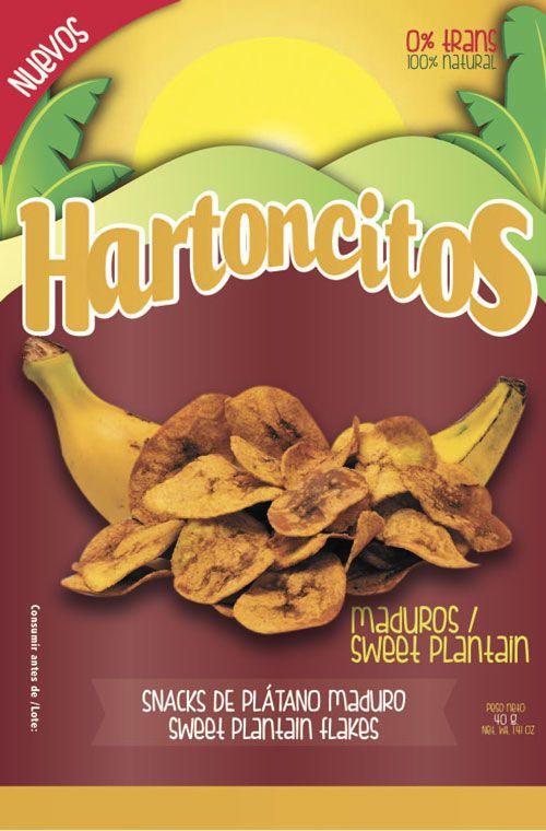 Diseño gráfico de empaque para producto de Snacks. Marca Colsnacks. Submarca Hartoncitos. Hojuleas de plátano maduro
