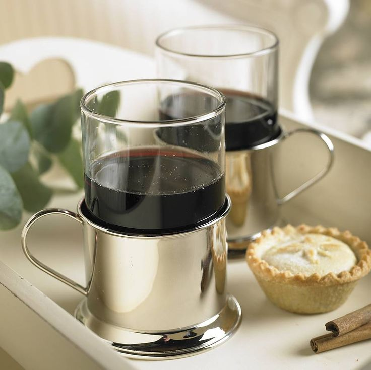 Versatile mulled wine mug, can be used for many uses around the home whether it is serving a milky latte or rich hot chocolate.This exclusively designed mulled wine glass is perfect for serving a warm spiced wine in front of the fire on those cold winter evenings. The nickel plated holder features a felt covered base and easy grip handle. The glass sits neatly into the holder and is safely held in place whilst in use. The glass can easily be removed for rinsing and is of pleasing weight…