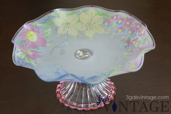 Vintage Japanese Soga Glass Candy Dish, Pastel Floral Pattern, Pedestal Foot - Front View. $25.00