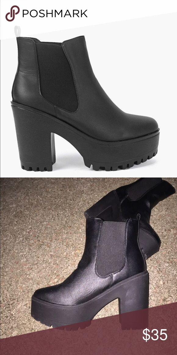 Black Platform Chelsea Boots - Coachella Chic Super cute black platform chelsea boots by Boohoo, perfect for strutting your stuff at Coachella or a night on the town! Size U.K. 3/36, and they fit a true size 6. I bought these online and unfortunately they are too small (I'm a true 6.5, sometimes 7)! Never worn and ready to ship. Boohoo Shoes Ankle Boots & Booties