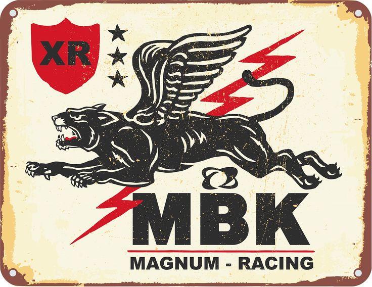Logo - Motobécane - MBK - Magnum Racing - garage station service mobylette 50v solex solexine cyclo motorcycle BP moto plaque emaillee as de pique moped autocollant MBK 125 175