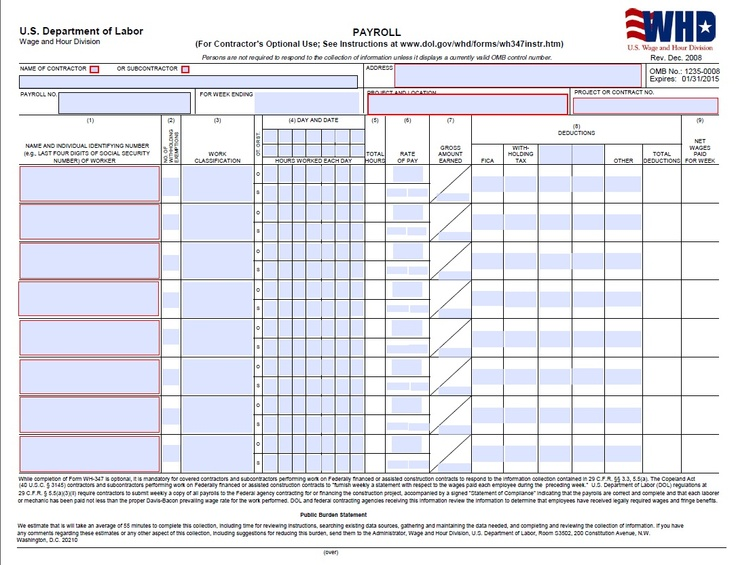 Certified Payroll Form - Page 1 (WH347) Prevailing Wage Pinterest - payroll sheet template