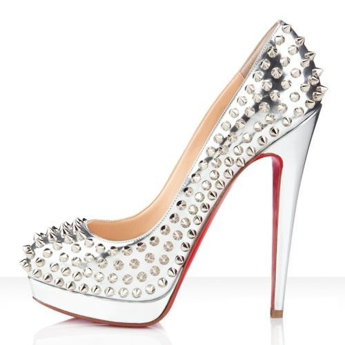 Christian Louboutin Alti Spikes 160mm in pelle Pompe argento