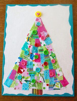 Beneath the Rowan Tree: Holiday Scrap Buster :: Scrappy Christmas Trees (Kid Friendly Craft!)