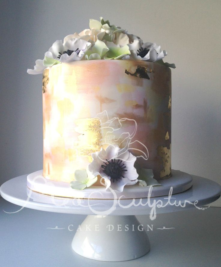 Decorating A Cake With Gold Leaf : 50 best images about Hand painted cake designs on ...