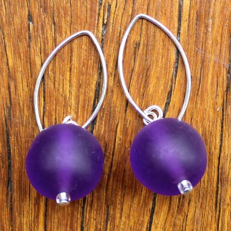 Purple (Translucent) Ball Drop Earrings