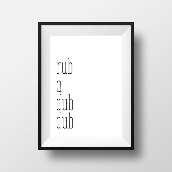 Bathroom Print Rub A Dub Dub Print Black and by printshopstudio