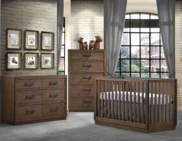 Natart Sevilla 3 Piece Nursery Set in Cognac: the Sevilla Collection has a style and character all its own.  Its soothing visual appeal reminds of the past and a simpler time when furniture was made by hand by seasoned aritsans using the natural element of solid wood.  This collection is offered in four distressed finishes, all framed by a painted black metallic trim.  Although evoking a rustic charm it also successfully incorporates simple lines for a clean and albeit modern design.