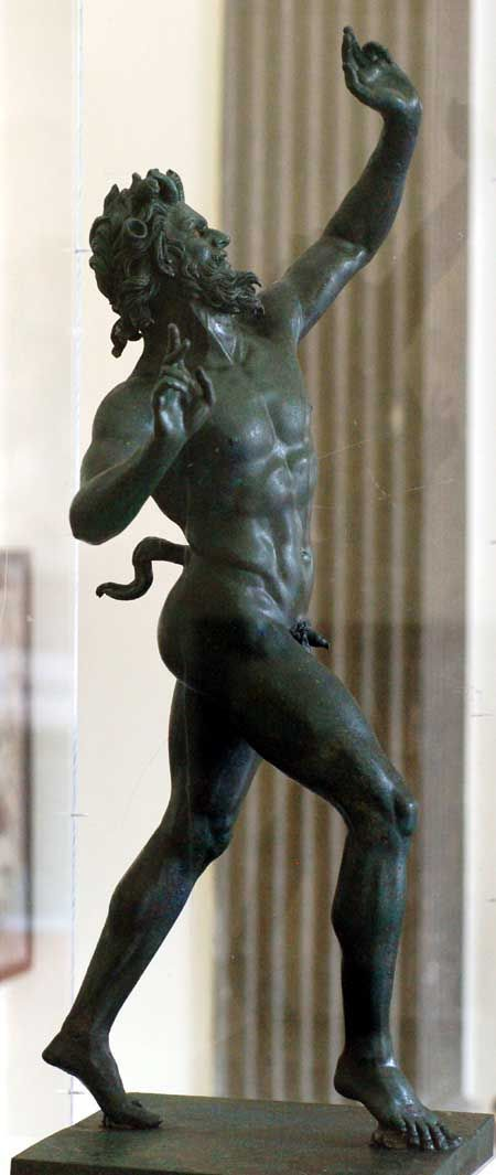 Dancing Faun, roman bronze sculpture from the House of the Faun, Pompeii. Museo Archeologico Nazionale, Naples