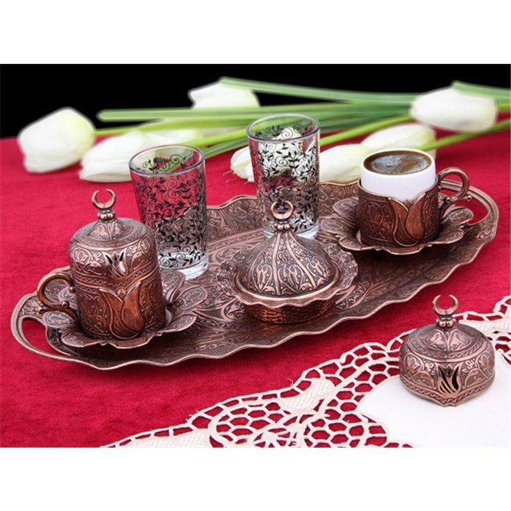 Hediyelik Antik Bakır Oval Tepsili Lalezar Kahve Takımı