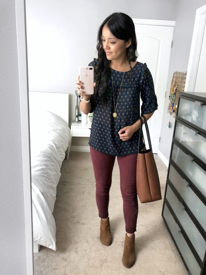 ed975a4c801  Instagram Outfits Roundup  Blue Floral Blouse + Maroon Jeans + Gold Pendant  + Cognac Booties + Tote