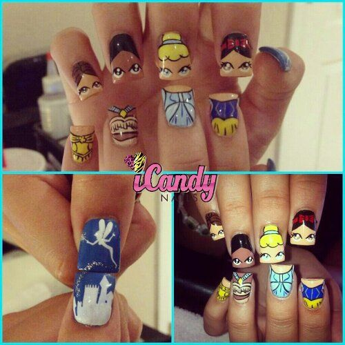 Disney princess nails. Not a huge fan of the Disney empire, but I must say.. this is aa awesome concept! I do however, LOVE!!! the Tinker Bell design.