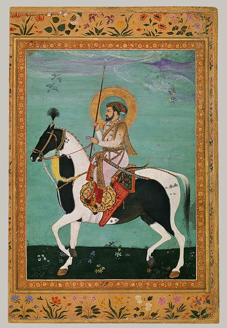 Shah Jahan on Horseback: Leaf from the Shah Jahan Album, period of Shah Jahan (1628–58) Attributed to Payag