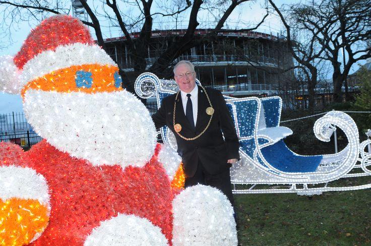 The Mayor of South Tyneside Councillor Richard Porthouse at the St Hilda's Church Gardens Christmas Wonderland lighting. #Christmas #southtyneside #festive