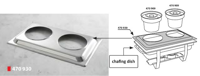 CONVERTITOR CHAFING DISH  GN1/1 IN DOUA RECIPIENTE OALA- PRODUS HORECA  Convertitor Chafing Dish, Convector 2 Oale, Accesorii pentru  recipiente chafing dish, din otel cromat, se potrivesc pentru toate tipurile de Chafing Dish GN 1/1   - 530x325 mm. Accesoriu Chafing Dish folosit Impreuna cu Produs cod:470909