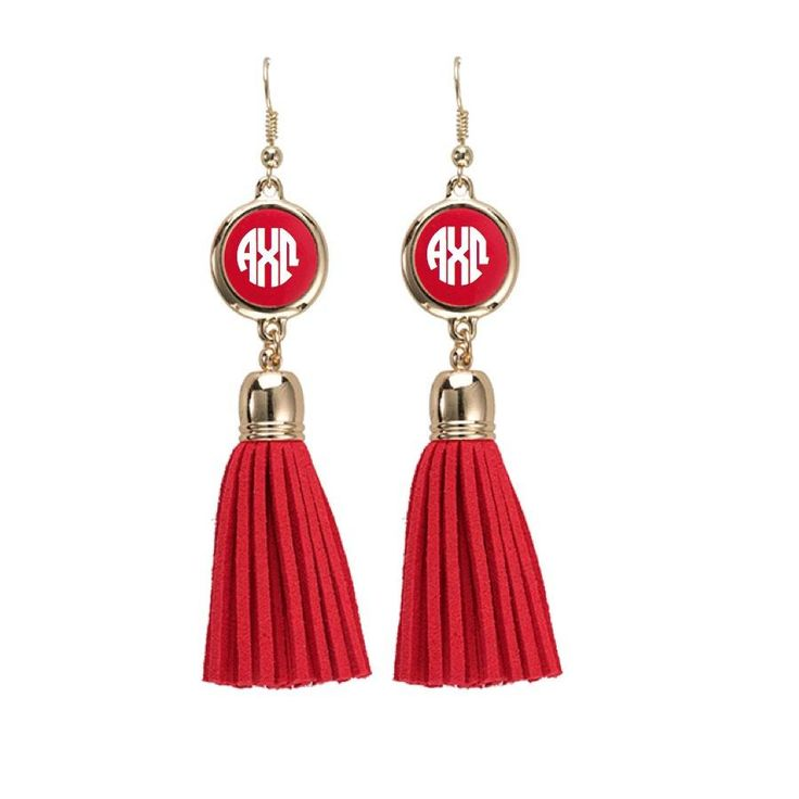 #AlphaChiOmega Earrings. Alpha Chi Omega Jewelry Tassel Collection includes necklace, earrings and bracelet.