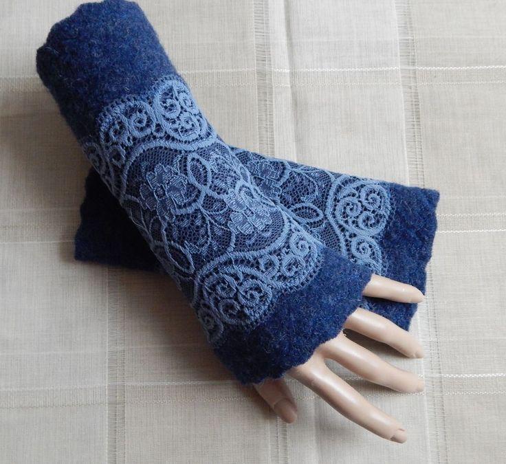 Armstulpen = Pulswärmer ~Walkwolle -Wolle -Walk SPITZE~EDEL~ NEU ~ Blau~ 10