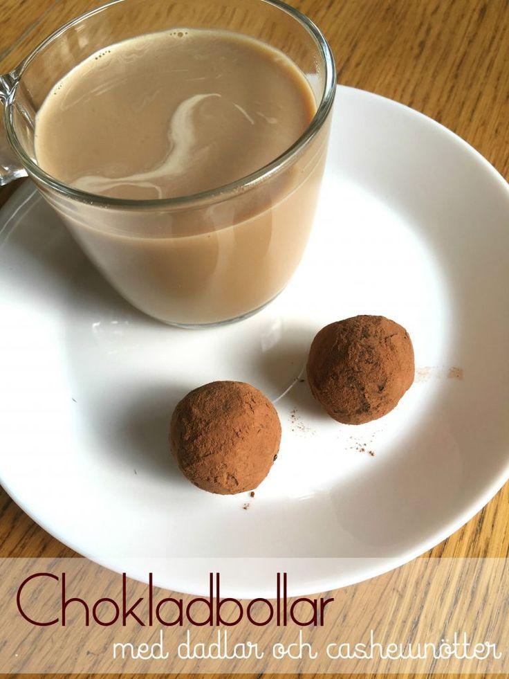Utsökta chokladbollar med dadlar och cashewnötter