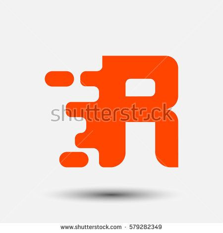 Letter R icon and logo template.  New design and elegant typographic. spread the font. orange